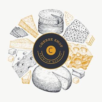 Etichetta di qualità premium del negozio di formaggi