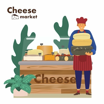 Negozio di formaggi con venditore al mercato del formaggio mercato agricolo