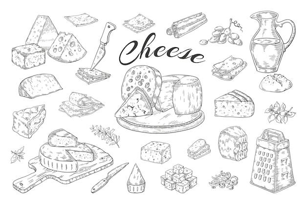 Schizzo di formaggio. prodotti lattiero-caseari disegnati a mano, fette di cibo gourmet, brie di parmigiano cheddar.