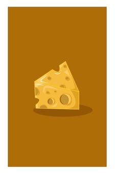 Illustrazione vettoriale di fetta di formaggio
