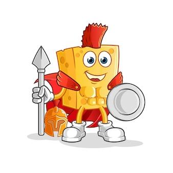 Mascotte di carattere spartano di formaggio
