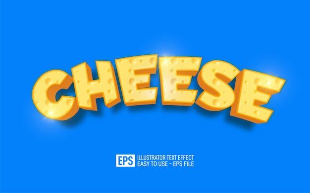 Testo del formaggio, effetto testo dell'illustratore modificabile