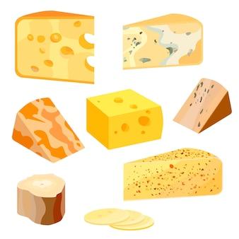 Tipi di formaggio. icone realistiche dell'illustrazione di vettore di stile piano moderno isolate su fondo bianco.