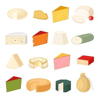 Illustrazione vettoriale di varietà di formaggio.