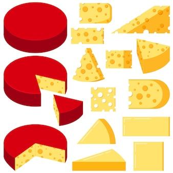Insieme di vettore delle fette di varie forme di formaggio isolato su priorità bassa bianca.