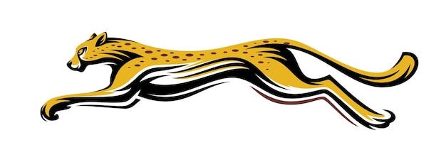 Cheetah fast run logo vettore