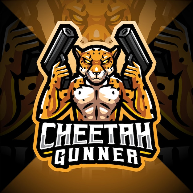 Logo della mascotte dell'esport di mitragliere ghepardo