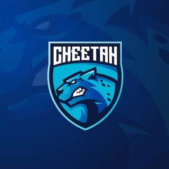 Progettazione del logo della mascotte del ghepardo con stile moderno di concetto dell'illustrazione per stampa del distintivo, dell'emblema e della maglietta