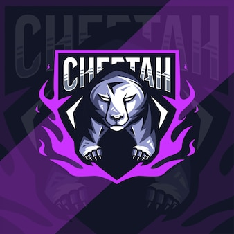 Cheetah mascotte logo esport design