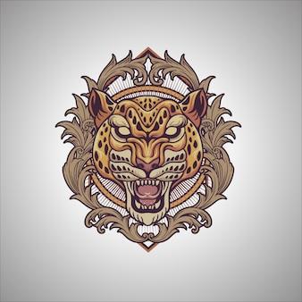Ornamento di ghepardo Vettore Premium