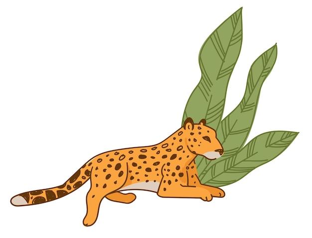 Ghepardo o leopardo maculato che riposa sotto un ampio fogliame. mammifero isolato con coda lunga. creatura carnivora in zoo o nella fauna selvatica. gatto selvatico del giaguaro nella savana. animale gatto felino, vettore in stile piatto