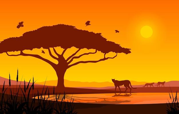 Illustrazione della fauna selvatica dell'africa del paesaggio della savana animale dell'oasi dell'albero del ghepardo