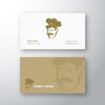 Logo vettoriale astratto chef e modello di biglietto da visita stile retrò emblema cuoco faccia in un cappello con mosto...