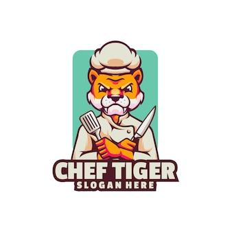 Logo della tigre arrabbiata del cuoco unico