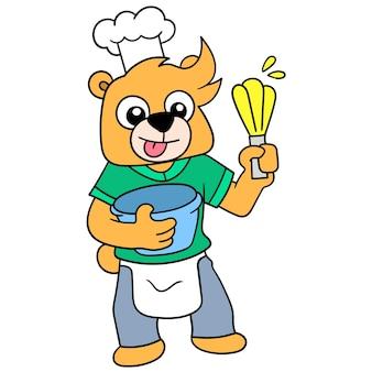 Lo chef bear è in cucina a impastare l'impasto per fare una torta, illustrazione vettoriale. scarabocchiare icona immagine kawaii.