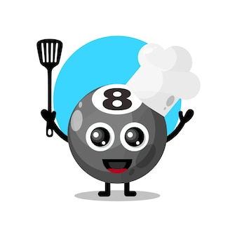 Chef palla da biliardo simpatico personaggio mascotte