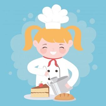 Ragazza bionda del cuoco unico che cucina con il personaggio dei cartoni animati della torta e del pane di pentola
