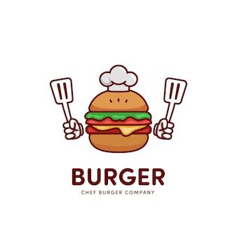 Icona del logo della mascotte del fumetto dell'hamburger dell'hamburger dello chef che tiene la spatola
