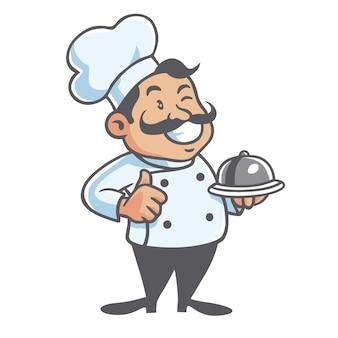 Chef cartoon character design logo che serve cibo illustrazione vettoriale