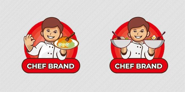 Concetto di logo del personaggio dello chef