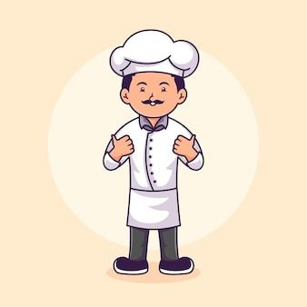 Modello di progettazione del logo del personaggio dello chef