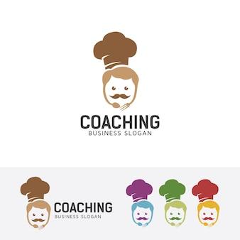Modello di logo di chef coaching