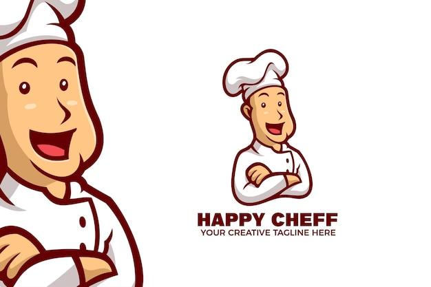 Modello di logo della mascotte dei cartoni animati che cucina chef