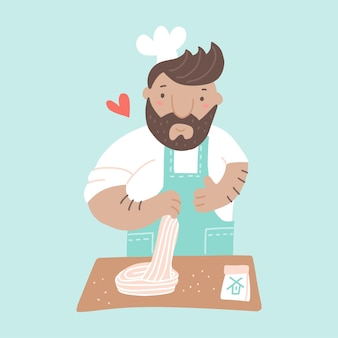 Lo chef che cucina la pasta nel maestro del ristorante prepara il piatto dall'impasto spettacolo culinario professionale piatto illustrazione vettoriale pranzo o cena fatti in casa preparazione del cibo