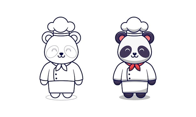 Pagina da colorare di chef carino panda cartone animato per bambini