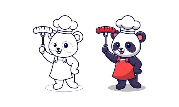 Chef simpatico panda cartoon pagine da colorare per bambini