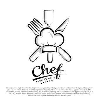 Chef design logo modello cappello da chef con illustrazione vettoriale di strumenti da chef