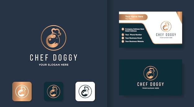 Design del logo del cane da chef, cane che indossa un cappello da chef e design del biglietto da visita