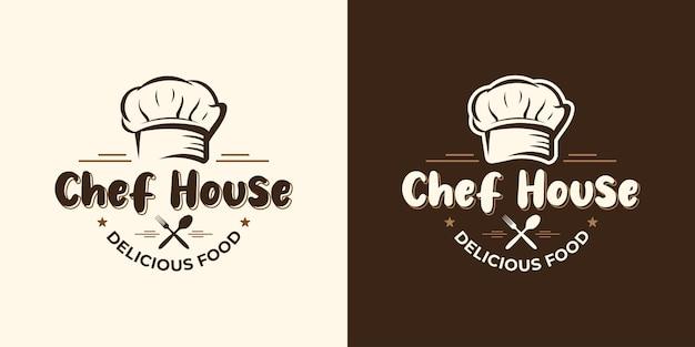 Design del logo del ristorante chef cibo food