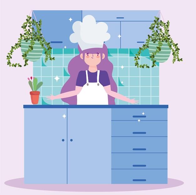 Chef ragazza a casa