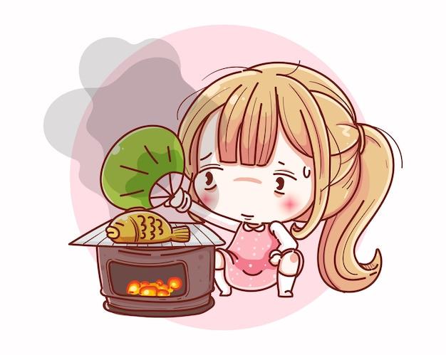La ragazza del cuoco unico si prepara per cucinare il cibo e il design dei personaggi dei cartoni animati.
