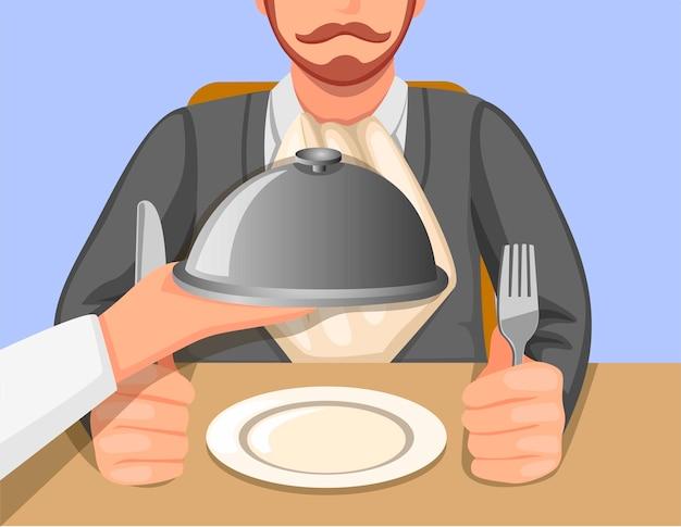Mano del cuoco unico che serve cibo nel vassoio al cliente nel concetto di scena del ristorante o del caffè nell'illustrazione del fumetto