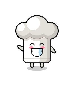Personaggio dei cartoni animati del cappello da chef che fa il gesto della mano con l'onda, design in stile carino per maglietta, adesivo, elemento logo