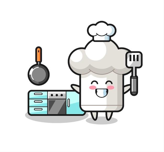 Illustrazione del personaggio del cappello da chef mentre uno chef cucina, design in stile carino per maglietta, adesivo, elemento logo