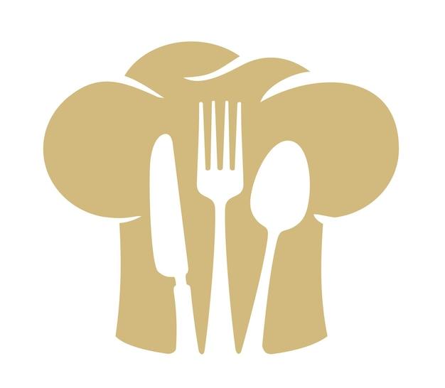 Emblema del cappello da chef con cucchiaio, forchetta e coltello.