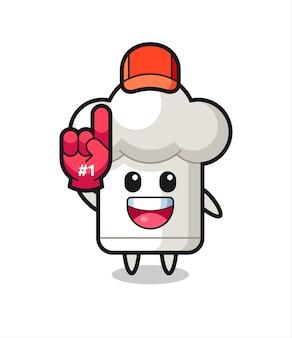 Fumetto dell'illustrazione del cappello dello chef con il guanto dei fan numero 1, design in stile carino per t-shirt, adesivo, elemento logo