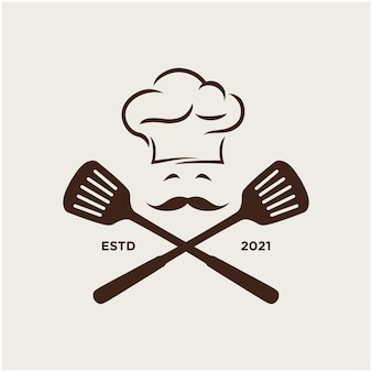 Modello di logo da cucina cappello da chef ispirazione vettore premium