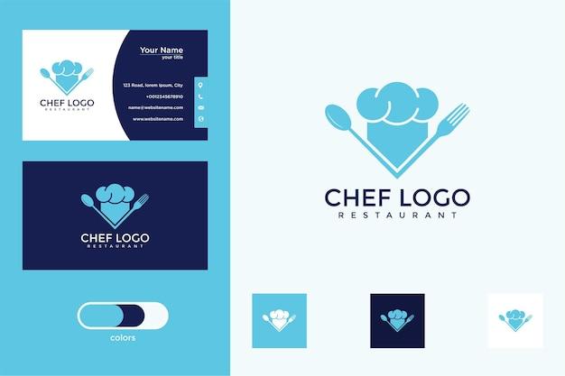 Design del logo del cappello da chef e biglietto da visita Vettore Premium