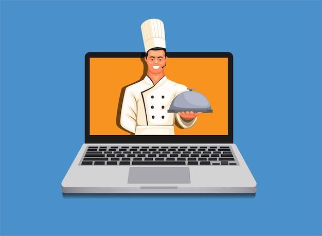 Chef azienda vassoio di cibo in metallo coperchio uomo che serve cibo simbolo per ristorante Vettore Premium