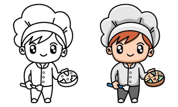 Chef con in mano una pizza da colorare per bambini
