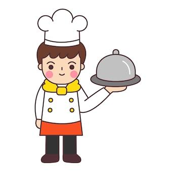 Lo chef tiene il vassoio di cibo.