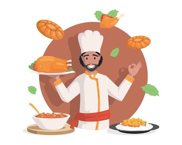 Lo chef in abiti indiani vector l'illustrazione piana saporita deliziosa indiana