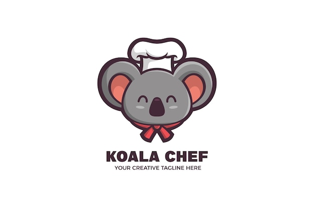 Modello di logo del personaggio della mascotte del cibo dei bambini dello chef koalaala