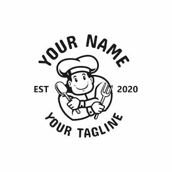 Illustrazione della mascotte del logo del cuoco unico