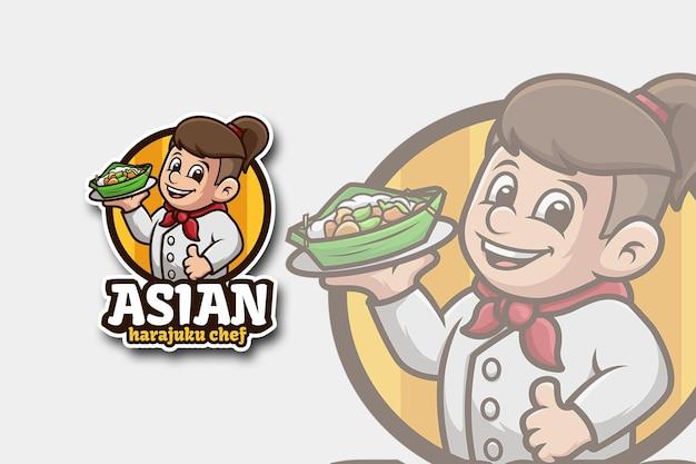 Logo dello chef con stile di capelli harajuku asiatico