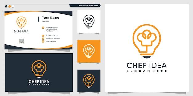 Logo dello chef con stile creativo della linea di idea della lampadina e modello di progettazione del biglietto da visita vettore premium